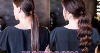 Hướng dẫn cách tạo 2 kiểu tóc đuôi gà buộc thấp cho chị em tóc dài thằng và tóc dài xoăn 1