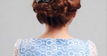 Hướng dẫn cách tết tóc búi với nơ bông hoa xinh xắn và cực kì đáng yêu 1